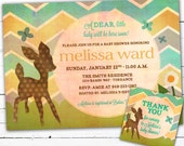 Gender Neutral Baby Shower Invitation With Matching Gift tags- A Dear Deer and Chevron