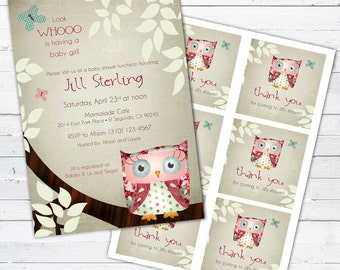 Owl Baby Shower Invitation and Gift Bag Tags-- Little Owlie (girl)