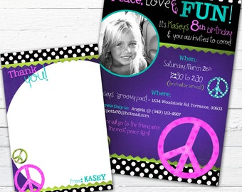 Peace Sign Birthday Invitation Photo Card and Coordinating Thank You Note--Peace Love and Fun