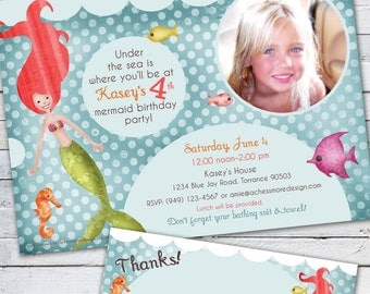 Mermaid Birthday Invitation Photo Card (Customize the mermaid!!)