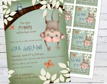 Monkey Baby Shower Invitation and gift bag tags --Little Monks (boy)