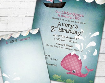 Little Squirt (girl)-- Birthday Invite and Matching Thank You Note