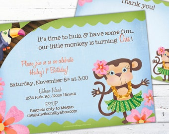 Hula Monkey Birthday Invitation-- Luau monkey