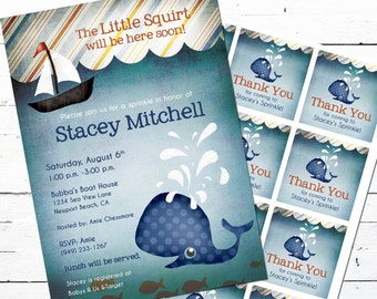 Whale Baby Shower Invitation and Gift Bag Tags-- Little Squirt