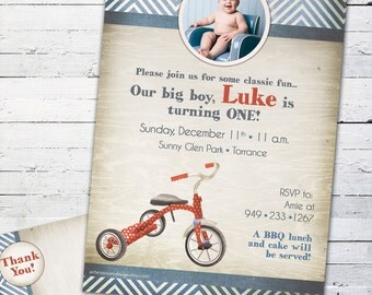 Retro Red Tricycle Birthday Invitation-- Custom Photo Card and Matching Thank You Note