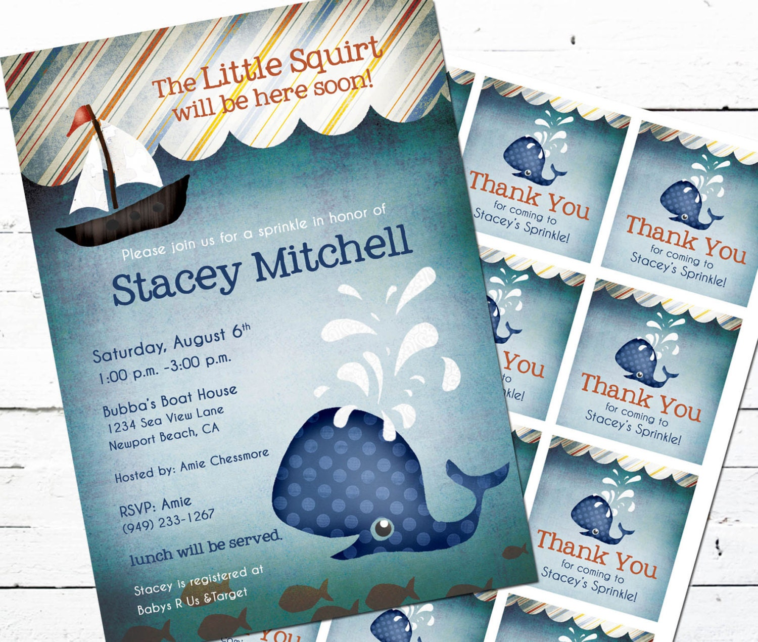 Whale Baby Shower Invitation and Gift Bag Tags Little Squirt