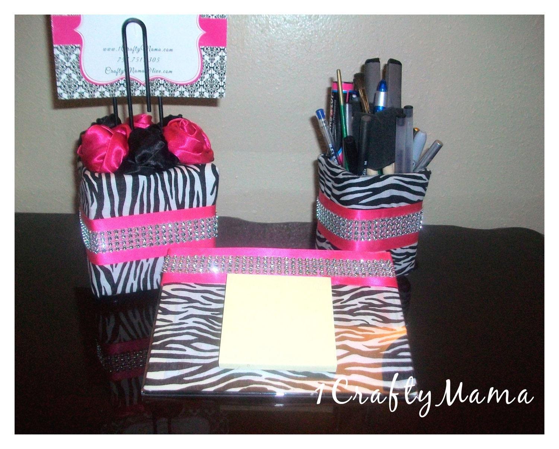 Elegant bling office desk set zebra print hot by 1chicncraftymama - Girly office desk accessories ...