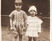 Adorable siblings photograph, Real Photo Postcard