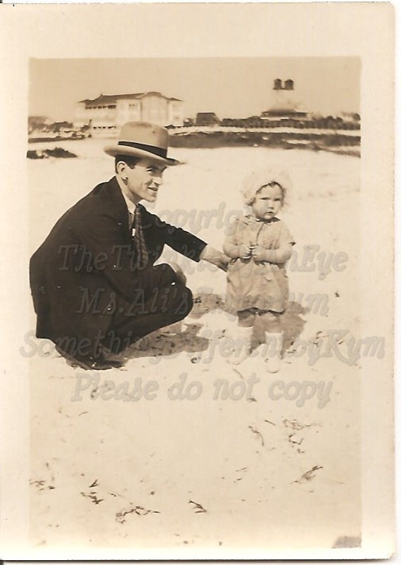 Beach Day With Daddy, Vintage Photograph
