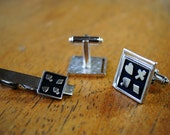 Card Suits Cuff Link and Tie Bar Set