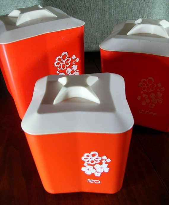 Vintage Set of Red Plastic Canisters
