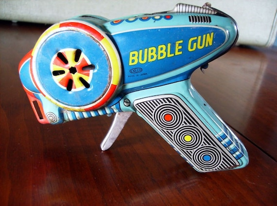 1950s Tin Litho Exelo Bubble Gun, Made in Japan