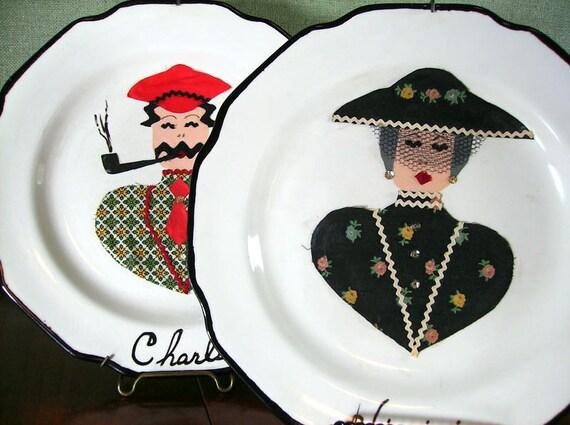 1960s Handmade Charlie and Virginia Plates, set of 2