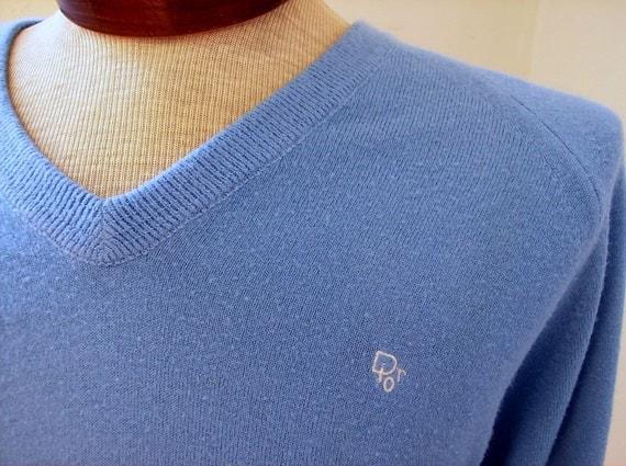 Vintage Blue Christian Dior Men's Sweater
