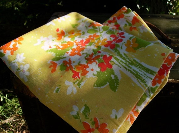 Vintage Pair of Yellow Floral Bouquet Pillowcases