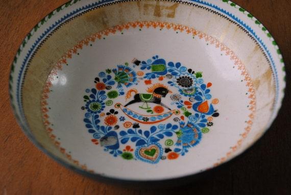 Small Enamel Folk Motif Bowl