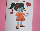 My Zombie Love Greeting Card (Girl)
