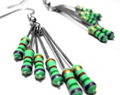 Resistor Dangle Earrings Spring Green Purple Computer Part Jewelry