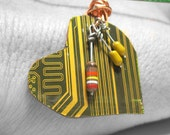 Cyber Monday Sale - Recycled Computer Jewelry - Circuit Board Heart Necklace - Yellow Green Mustard - Eco Friendly Eco Fashion