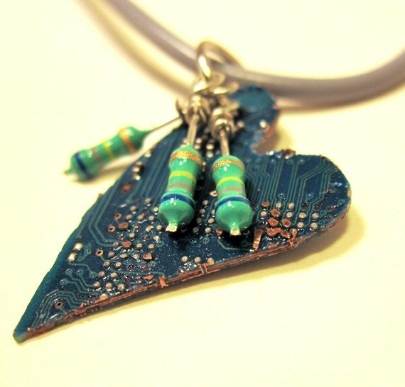 Small Teal Computer Circuit Board Heart With Resistor Pendant