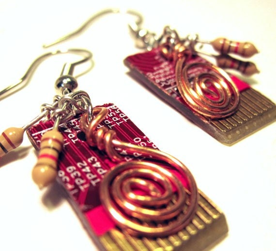 RED HOT Computer Circuit Board Dangle Earrings