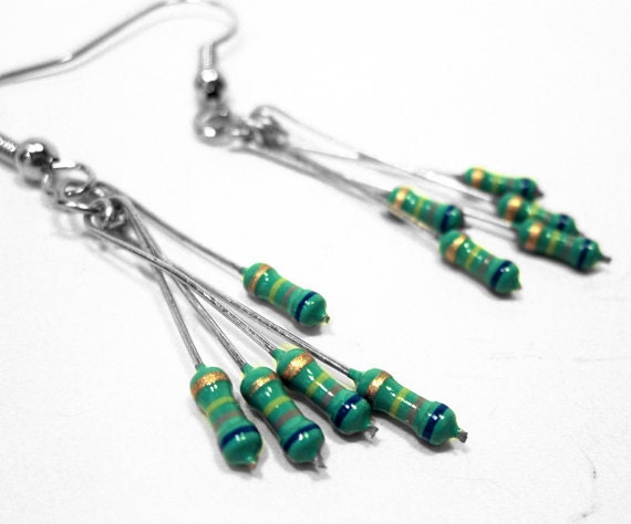 Resistor Dangle Earrings Teal