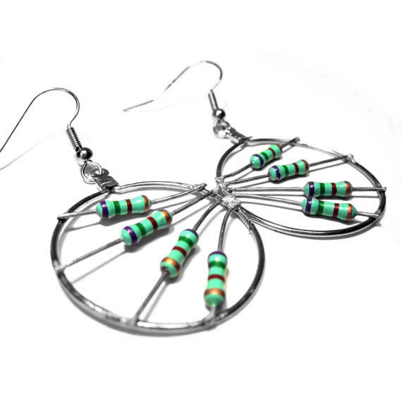 upcycled resistor earrings teal green hoop circle computer