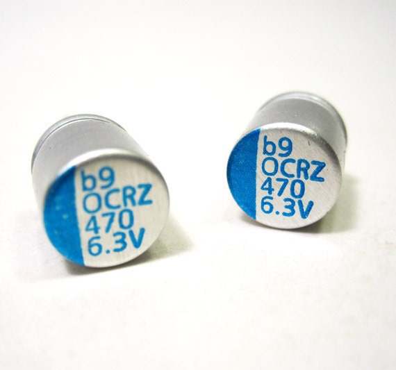 Silver Blue Computer Capacitor Earrings Computer Jewelry