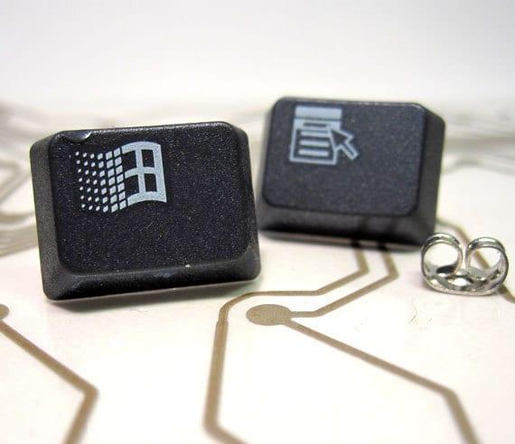 Keyboard Earrings- Stud Earrings - Charcoal Grey, Windows Laptop Geek Stud Earrings