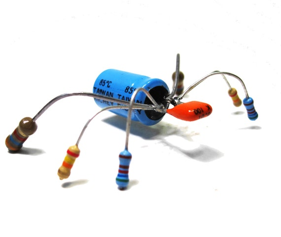 Assemblage Computer Bug Magnet, Upcycled Electronic Parts, Geek, Office Decor, Gadmeer Art