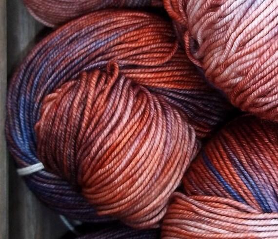 Sunset Beach - Hand dyed Extra Fine Merino Fingering - Ella Rae - 100g - blue - orange - red - purple