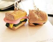 Handmade Tiny  Sandwich Earrings
