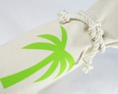 Wine Bag Canvas  Lime Green Preppy Palm Tree Bottle Bag Summer Hostess Wedding Favor