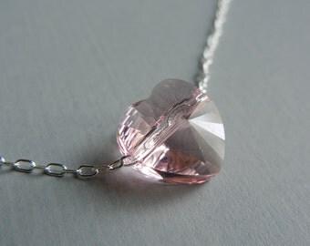 Little Pink Swarovski Heart Necklace