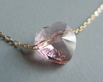 Little Pink Swarovski Heart Necklace (Gold)