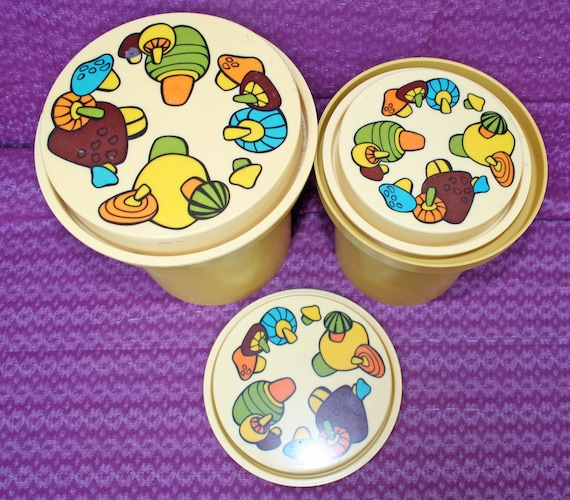 Vintage MUSHROOMS 70's RUBBERMAID Canister Set of 3 storage containers mushroom