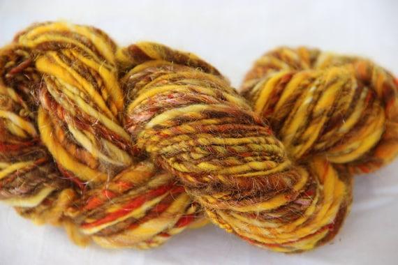 "Handspun Wool Art Yarn, Single Ply ""Amber Waves"""