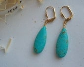 GIVEAWAY Turquoise Blue stone Long Drop Bridesmaids leverback Earring Gift Gold Tone 1 pair