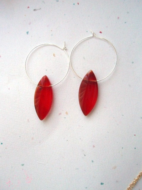 GIVEAWAY Red glass marquise hoop earring silver tone 1 pair, red earrings, hoop earrings