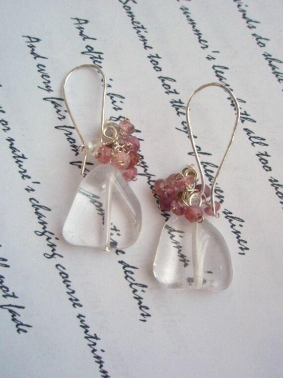 GIVEAWAY Tourmaline cluster Rock crystal earrings 1 pair