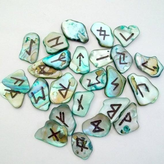 Elder Futhark Abalone Shell Runes Runeset Norse