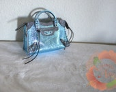 Miniature Bag Charm in Metallic Ice Blue w/Pewter Leather Trimming (pre-order item)