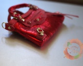 Miniature Bag Charm in Metallic Red w/Suede Trimming