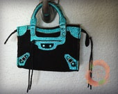 Miniature Bag Charm in Black Suede with Metallic Pebbled Blue Leather Trimming (reserved)