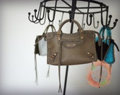 Miniature Bag Charm in Tan Leather with Tan Suede Trimming (reserved)