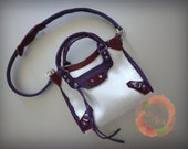 Miniature Bag Charm in Pearlized White with Indigo and Wine Color Leather Trimming (reserved)