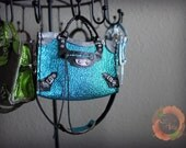 Miniature Bag Tri-Color Leather Charm in Metallic Pebbled Blue with Black/Pewter Trimming