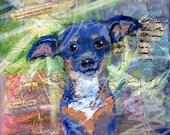 Custom pet memorial paintings - Custom mixed media painting of pets
