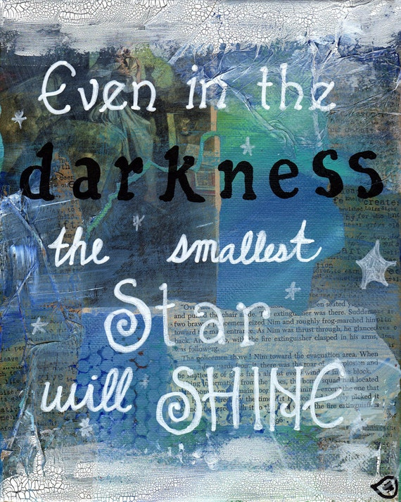 Mixed Media - Quote Painting - Inspirational Art - Star - Shine - Texture - 8x10 original