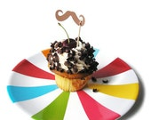 Moustache Cupcake Toppers - Set of 12